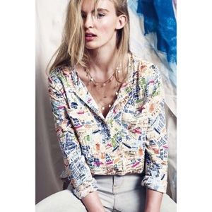 Anthropologie Maeve Cartography Button down top